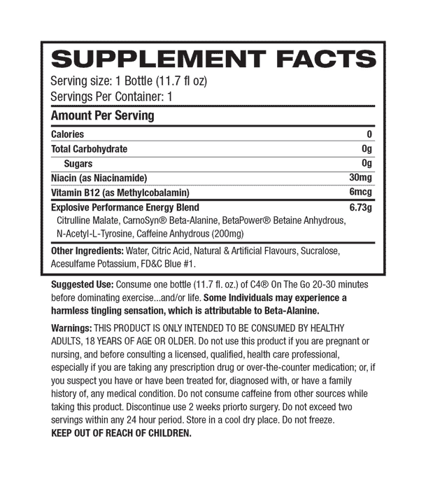 Cellucor - C4 Original - On The Go RTD Supplement Facts