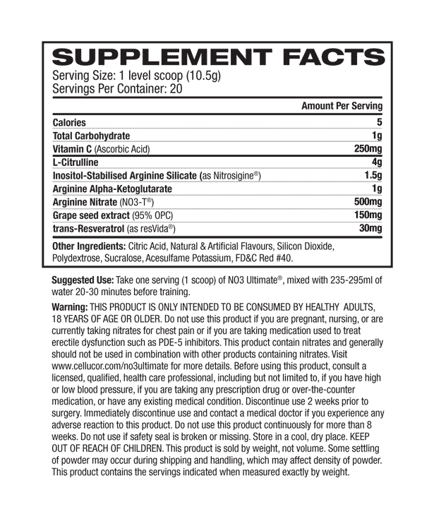 nutritional info about Cellucor - NO3 Ultimate