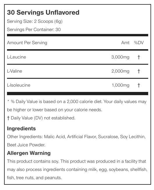 nutritional info about Muscle Pharm - Essentials BCAA