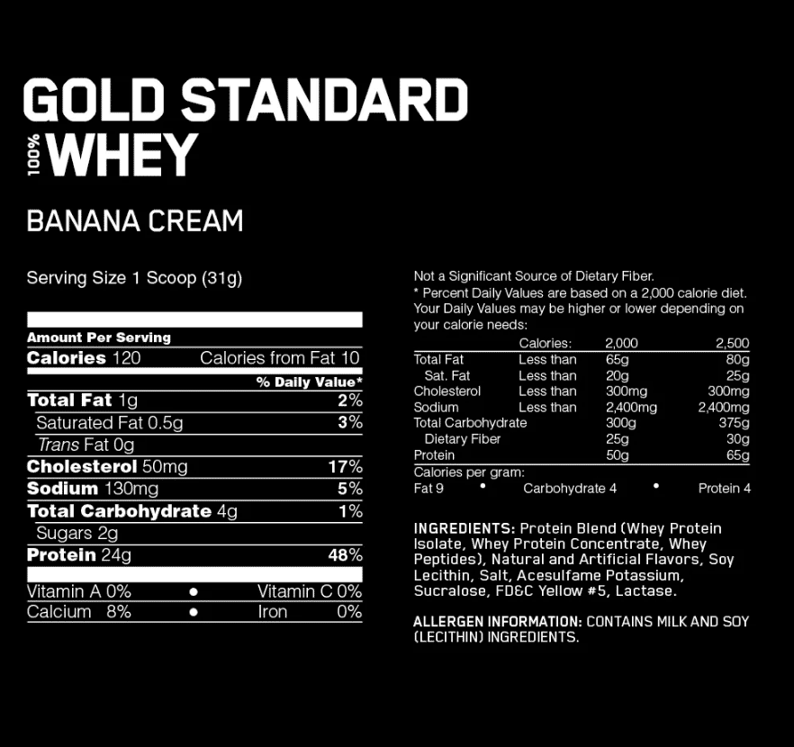 Gold Standard 100% Whey Nutritional Information and Ingredients