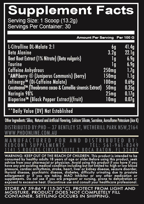 nutritional info about REDCON1 - Total War