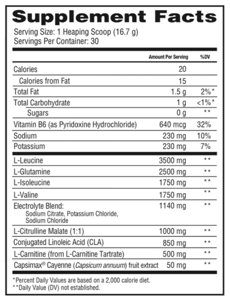 Scivation Xtend Ripped Nutritional info