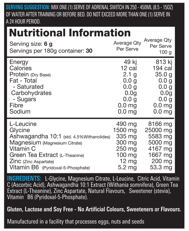 nutritional info  about Switch Nutrition - ADRENAL SWITCH