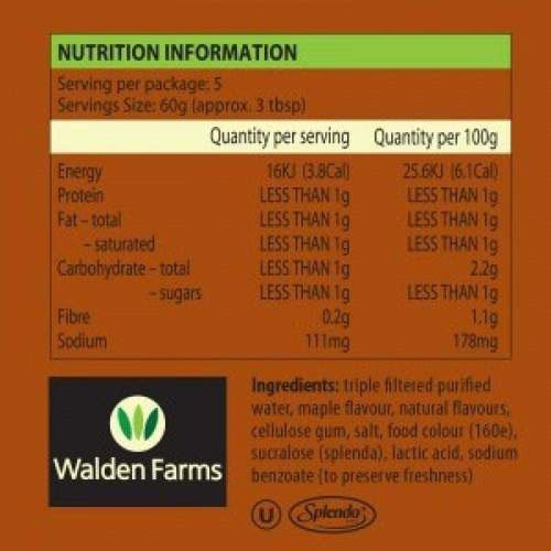 Walden Farms - Maple Syrup Nutrition Information